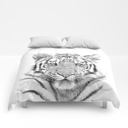 Black and white tiger Comforters