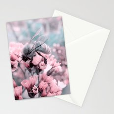 Honey Bee on Pale Pink Flowers Stationery Cards