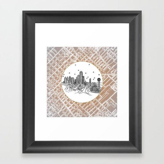 Dallas, Texas City Skyline Illustration Drawing Framed Art Print