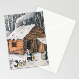 Vintage Home in The Wilderness Painting (1870) Stationery Cards