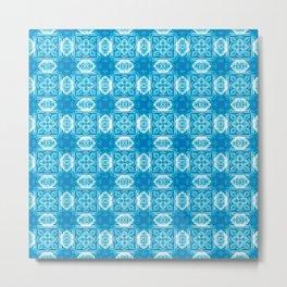 Blue Geometric Floral Metal Print