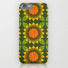 Golden Sunflowers in Rows on Dark Olive (pattern) iPhone Case