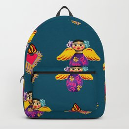 Mexican Angels and Hearts Cerulean Backpack