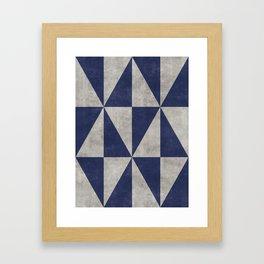 Geometric Triangle Pattern - Concrete Gray, Blue Framed Art Print
