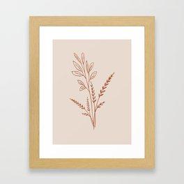 Orange and Cream Set, Minimalist Drawing Art, Plant leaves printable poster, Framed Art Print