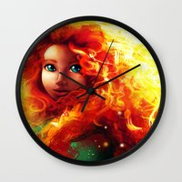 brave Wall Clocks featuring Brave by Peach Momoko
