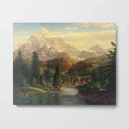 Indian Village Greeting Trapper Western Mountain Landscape, Native Americans, americana Metal Print