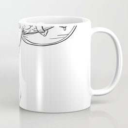 Heracles With Shield and Sword Drawing Black and White Coffee Mug