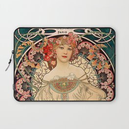 Mucha Daydream Art Nouveau Edwardian Woman Floral Portrait Laptop Sleeve