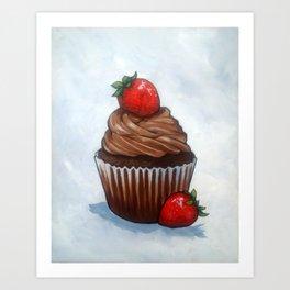 Chocolate Cupcake With Strawberries, Realism Art Art Print