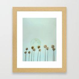 Full Moon Paradiese Beach Palm Trees Framed Art Print