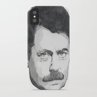 ron swanson iPhone & iPod Cases featuring Ron Swanson by Lina