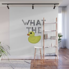 WHAT THE DUCK written with duck tape Wall Mural