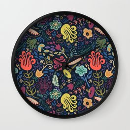 Navy Vintage Floral // Hand Drawn Funky Flowers, Bright & Cheery Wall Clock