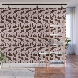 Rabbit Pattern | Rabbit Silhouettes | Bunny Rabbits | Bunnies | Hares | Pink and Brown | Wall Mural
