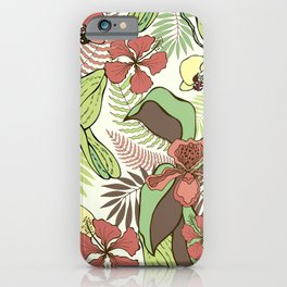 Tropical flowers and leaves. Orchids and hibiscuses. iPhone Case