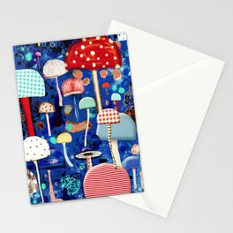 Blue Mushrooms - Zu hause Marine blue Abstract Art Stationery Cards