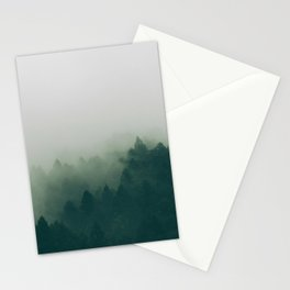 Green Pine Trees Misty Foggy Forest Green Ombre Gradient Minimalist Landscape Stationery Cards