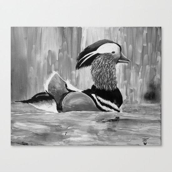 Mandarin Duck at Night Enjoying the Reflection on the Water Canvas Print