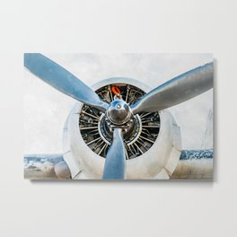 Legendary Vintage Aircraft Engine And Propeller On White Metal Print