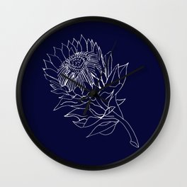 King Protea Outline - Navy and White Wall Clock