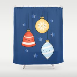 Merry Christmas! Jolly Stars, Baubles & Bells Shower Curtain