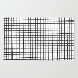Hand drawn Grid Pattern-Black on White-Mix & Match with Simplicity  of life Rug