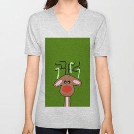 Christmas Reindeer Green Unisex V-Neck