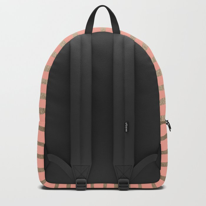 Abstract Stripes Gold Coral Pink Backpack