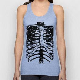 Skeleton Ribs | Skeletons | Rib Cage | Human Anatomy | Black and White | Unisex Tank Top