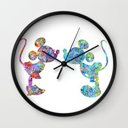 Love Is  Here  colorful watercolor Wall Clock