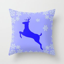 DECORATIVE LEAPING CHRISTMAS  BLUE DEER & SNOWFLAKES Throw Pillow
