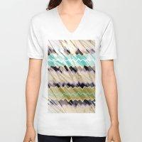 chevron V-neck T-shirts featuring CHEVRON by sametsevincer