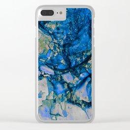Blue Cracks Clear iPhone Case