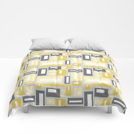 Simple Geometric Pattern in Yellow and Gray Comforters