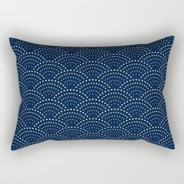 Japanese Blue Wave Seigaiha Indigo Super Moon Pattern Rectangular Pillow