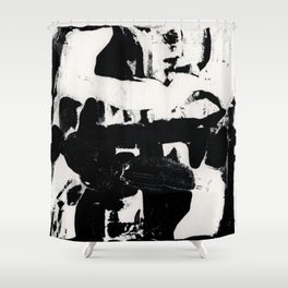 Abstract Black and white print Shower Curtain