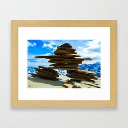 Inukshuk on Whistlers Mt in Jasper National Park, Canada Framed Art Print