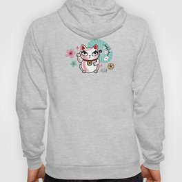 Lucky Cat Maneki Neko , Dragons and Koi fish On Pink Hoody