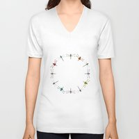 circle V-neck T-shirts featuring Circle by Okti