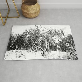 Trees and Snow Scene, Black and White Rug