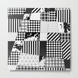 Mosaic Contrast - Black and white, geometric design Metal Print