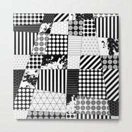 Mosaic Contrast - Black and white, geometric design Metal Print