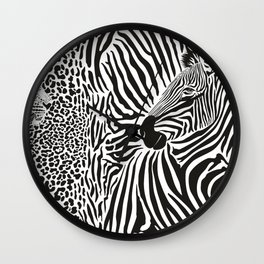 Zebra and leopard skin pattern with heads Wall Clock