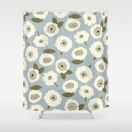 Floating Flowers Grey Shower Curtain