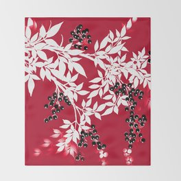 TREE BRANCHES  RED AND WHITE WITH BLACK BERRIES Throw Blanket