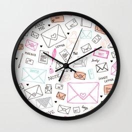 Love letter illustration pattern design Wall Clock