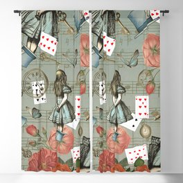 Alice In Wonderland Collage - Golden Green Blackout Curtain