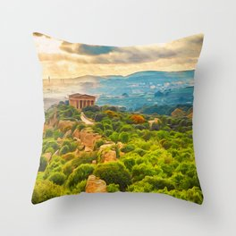 Agrigento and the Valley of the Temples Throw Pillow