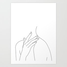 Female body line drawing - Danna Art Print